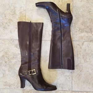 Anne Klein Great Cond. Leather Brown Knee Boots